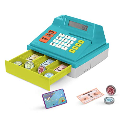 Battat – Toy Cash Register for Kids, Toddlers – 48pc Play Register with Toy Money, Credit Card – Calculating Cash Register (No Scanner) – 3 Years +