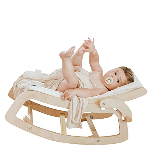 Little Dove Baby Bouncer 3-in-1 Convertible Wooden Recliner and Rocker Chair for Toddler - with Removable Cushion, Seat Belt and Booster