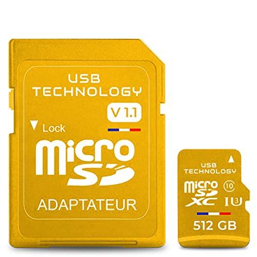 Tarjeta de memoria Micro SD 512 GB – V1.1 – Tarjeta de memoria – CAPACIDAD REAL + adaptador, excelente calidad