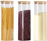 Contenedor de almacenamiento con tapa hermética Jarras de almacenamiento de bambú con tapas de silicona anillo Conjunto de 3, herméticos de cristal de la cocina de cereal Contenedores, 1500 ml x 2/2