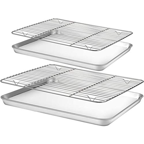 EULOND Baking Sheet with Rack 2 Set, 2 Size(12.2''9.5''1, 10.2''7.9''1)Cookie Sheets for Baking Use, Stainless Steel Baking Pans Oven Tray with Cooling Racks, Easy Clean, Dishwasher Safe