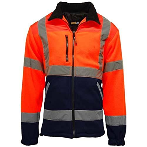 Para hombre Premium Safety Hi Vis Viz visibilidad forrado Trabajo Chaqueta de forro polar multicolor Orange/Navy Medium