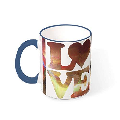 Knowikonwn Love - Taza de cerámica con mango personalizable, diseño de corazón, color azul