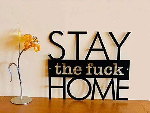 Stay The Fuck Home Hanging Sign Funny Gift Custom Metal Wall Art Housewarming Family Gift Personalized Door Hanger Let's Stay Safe Social Distancing Living Room Farmhouse Decor COVID 19 Coronavirus