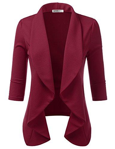 TWINTH Women¡¯s Stretch 3/4 Open Blazer Cardigan Jacket Ruby 2X Plus Size
