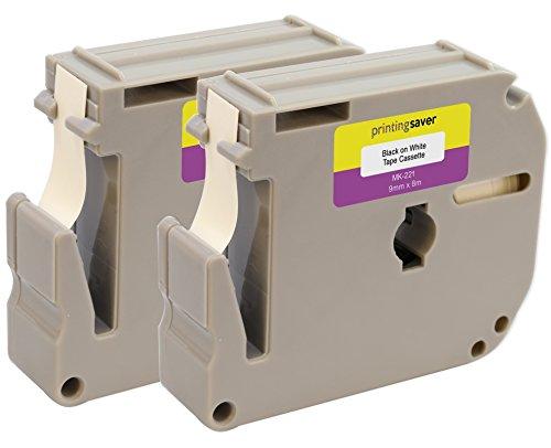 2 Kassetten M-K221 M-K221BZ 9mm x 8m Schwarz auf Weiß Schriftband kompatibel für Brother P-Touch PT45 PT45M PT55 PT55S PT65 PT70 PT70BM PT70HK PT70SP PT70SR PT75 PT80 PT85 PT90 PTM95 PT100 PT110