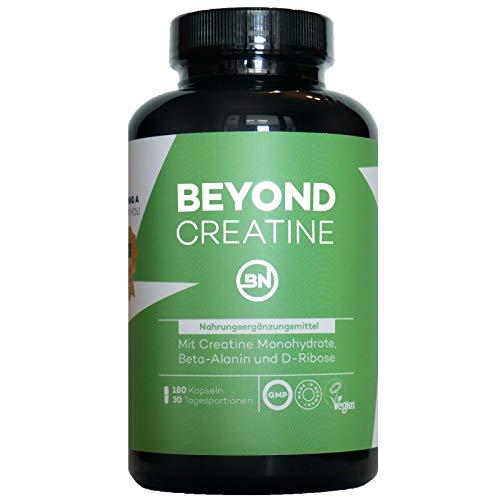 Beyond Creatine Monohydrate Kapseln mit D-Ribose, Beta-Alanin & schwarzem Pfeffer (Piperin) - 180 vegane Kapseln für Muskelaufbau, Sportnahrung ohne Zusatzstoffe