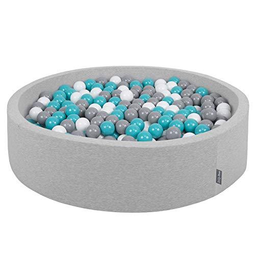 KiddyMoon Piscine À Balles 120X30cm/200 Balles Grande Rond pour Bébé, Fabriqué en UE, Gris Clair:Gris-Blanc-Turquoise