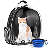 SSAWcasa Cat Carrier Backpack,Large Transparent Bubble Pet Backpack,Portable Ventilated Carry Backpack for Cat & Small Dog,Airline Approved Waterproof Pet Carrier Bag for Hiking Outdoor (Black)