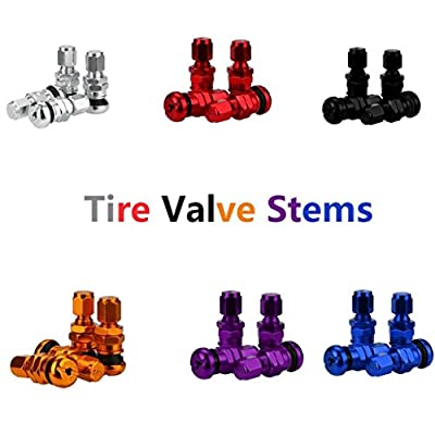 4pcs Set Bolt-in Aluminum Car Tubeless Wheel Tire Valve Stems With Dust Caps,Tuscom