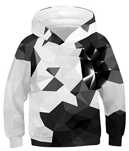 Amenxi Sweats à Capuche Enfant Garçons Filles 3D Imprimé Hoodie Poches à Cordon Sweat-Shirt Célébrer Noël 4-16 Ans (Triangle1, Height:155-165CM)