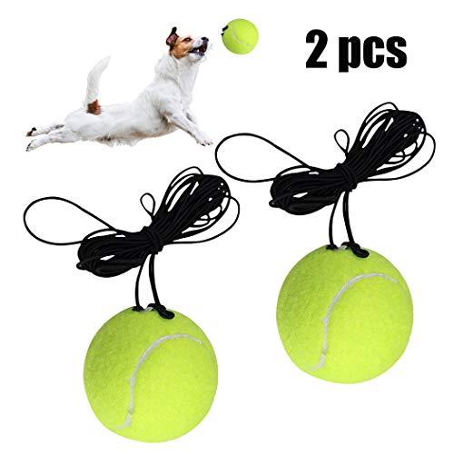 Fansport 2 Pcs Tennis Tennisball,Elastischer Tennisball mit Schnur,Tennis Trainer Ersatzball Trainingszubehör