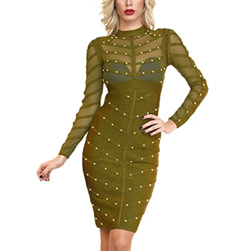 HLBandage Long Sleeve Mesh Beaded Knee Length Rayon Bandage Dress (L, Army Green)