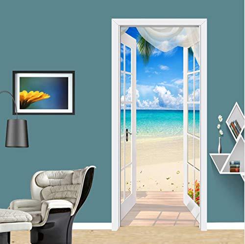 3D Türaufkleber Haus am Meer PVC Selbstklebende Wasserdichte Abnehmbare Art Decals für Dekoration Wandbild 77x200cm