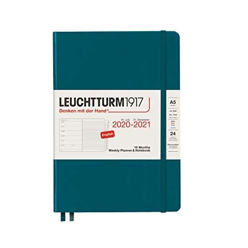 Leuchtturm1917 2021 - Agenda semanal y cuaderno (18 meses, tamaño A5, en inglés), color Pacific Green Mediano (A5)