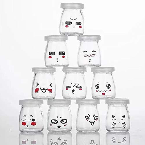 FFan - Lote de 10 tarros de yogur de cristal con tapas impermeables, tarro crema postre con decoración de emoticono diferentes para...