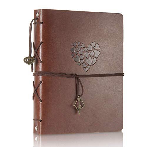 ThxMadam Scrapbook Cuero Álbum de Fotos Libro de Visitas de Boda con 60 Páginas Negras Presentes para Regalo de Valentín Día de Aniversario Navidad Cumpleaños para Esposa Hija Madre,Corazón Pequeña