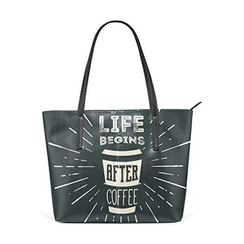 LUNLUMO Kaffeetasse Damen Henkel Tragetasche Schultertasche Handtasche
