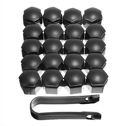Tapa de tuerca de rueda 20 piezas de estilo de coche negro 19mm Universal tuerca de rueda perno cubierta central Protector de tapa a prueba de polvo borde de perno con herramienta de extracción