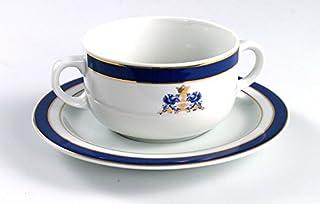 Duisburg con escudo, juego de consomé 12pzs. Porcelana blanca de alta calidad con decorado en oro y azul cobalto