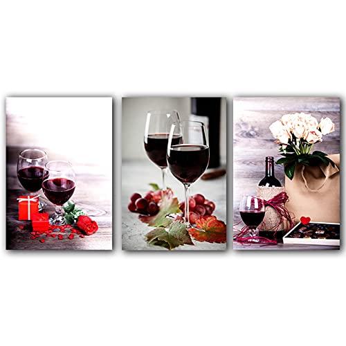 HHSJBY Cartel de Cocina Vino Tinto y Botella Bebida Lienzo Pintura Impresión de Arte de Pared Imagen Refectorio Restaurante Decoración para el hogar 3 Piezas 40x60cm / 15.7'x23.6 Sin Marco
