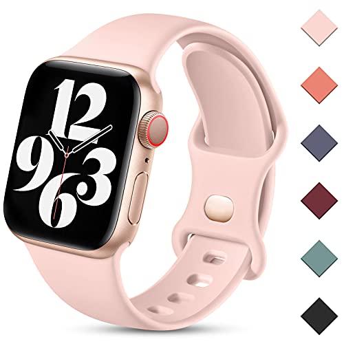 Charlam Compatibile con Cinturino Apple Watch 38mm 40mm 41mm 42mm 44mm 45mm per Donna Uomo, Cinturini in Silicone Sportivo Compatibile con iWatch SE Series 7 6 5 4 3 2 1, 42mm/44mm/45mm, Rosa Sabbia