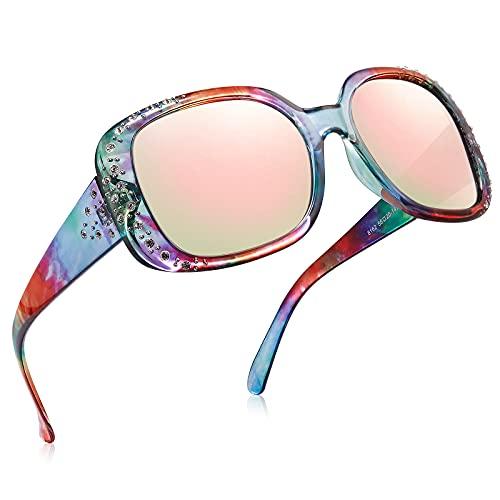 STGATN ROYAL GIRL Elton Square Rhinestone Sunglasses for Women Oversized Bling Trendy Glasses