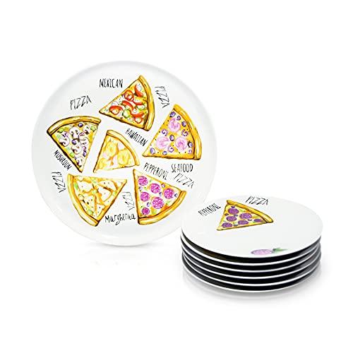 Juego de platos para pizza (7 piezas, 6 platos de desayuno de 20 cm, 1 bandeja de 30 cm), diseño a elegir