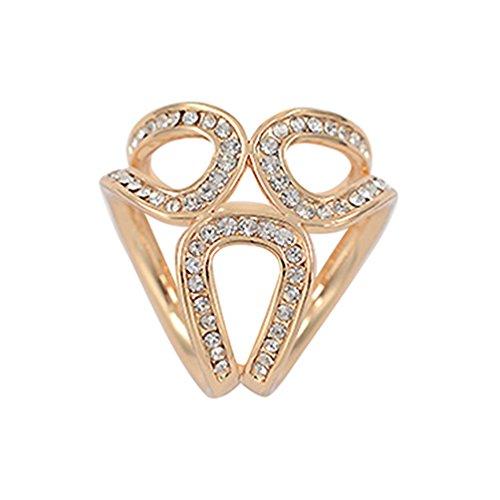 Jiacheng29 Rhinestone Garland Hoop Twine Brooch Silk Scarf Clip Buckle Holder Jewelry Gift Golden