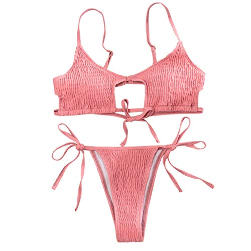 YANFANG Traje de baño de Bikini Dividido con Tirantes Huecos de Color sólido de Moda Sexy para Mujer Tankini para Mujer, Traje de baño de Dos Piezas