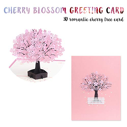 Pink Romantic Cherry Blossom 3D Pop Up Card with Extra Note Card, Tree Card Blossom Card for Birthday Mother�s Day Thanksgiving Day Valentine�s Day Festivals and Celebration