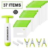 Sous Vide Bags - 30 Reusable Sous Vide Bags - 4 Sous Vide Clips -1 Vacuum Hand Pump - Reusable...