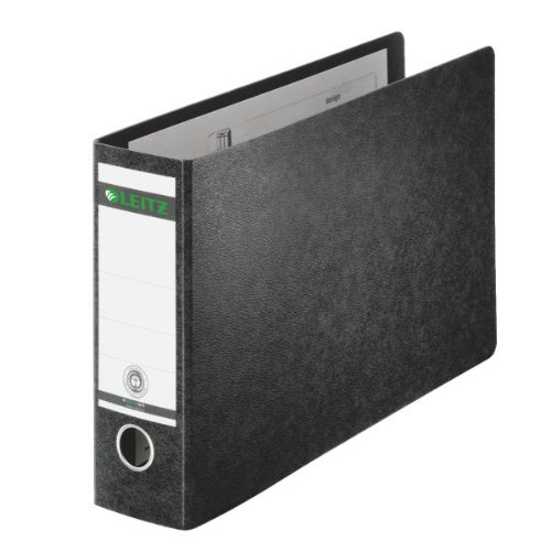Leitz 10740000 Qualitäts-Ordner (für Sonderformate, A4 (quer), 8 cm Rückenbreite, Hartpappe (RC)) schwarz