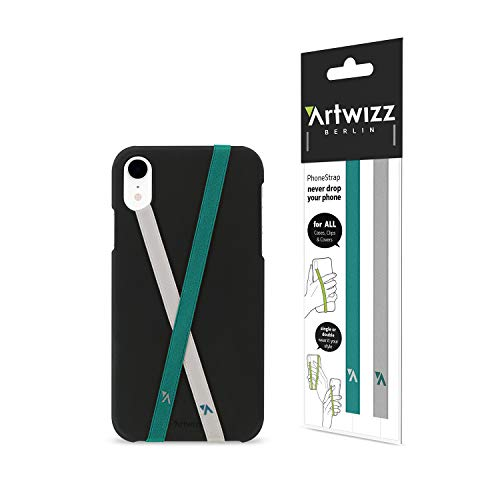 Artwizz PhoneStrap Fingerhalter - Zwei Smartphone Halterungen zur Befestigung an Schutzhülle - Grau/Petrol