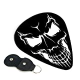 Skull Guitar Picks With Key Chain Pick Holder 6 Pack, Unique Guitar Gift For Bass, Electric & Acoustic Guitars 0.46mm