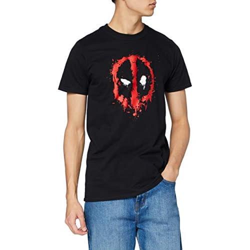 Marvel Deadpool Paint Logo T-Shirt, Nero, XL Uomo