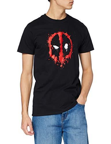 Marvel Herren Deadpool Paint Logo T-Shirt, schwarz, L