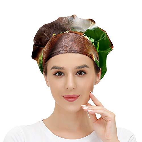 Gorra de trabajo para el pelo largo con banda elástica ajustable para el sudor, gorras de trabajo para los hombres, bufanda de cabeza impresa 3D sombreros ardilla nogal, mordiscos pelirroja