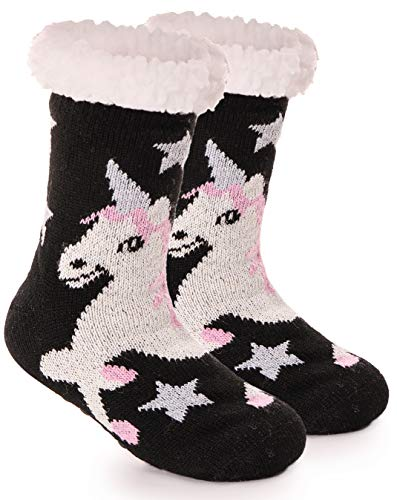 Girls Boys Slipper Socks Fuzzy Thick Plush Warm Sherpa Fleece lined Fluffy Winter Socks For Child Kids Toddlers(Unicorn,M)