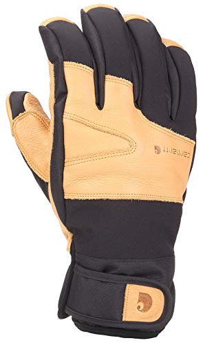 Carhartt Men's Winter Dex Cow Grain Leather Trim Glove, Black/Brown, Large