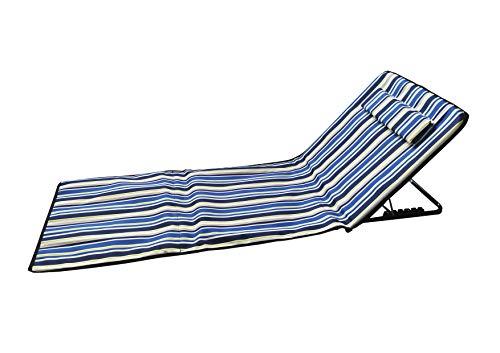 Pincho Esterilla de Playa Plegable portátil con Respaldo Ajustable y reposacabezas 145x47x50cm Bolsillo de Almacenamiento (Multicolor)