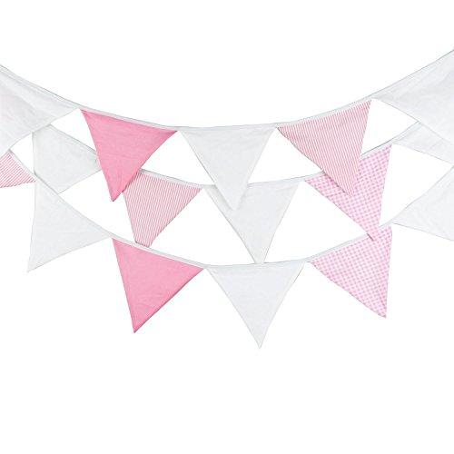 5,5 m Guirlande de fanions de, Bannière Vintage,bannière rétro triangle décoration pour chambre à coucher, fêtes d'anniversaire ou décoration de mariage(rose bébé)