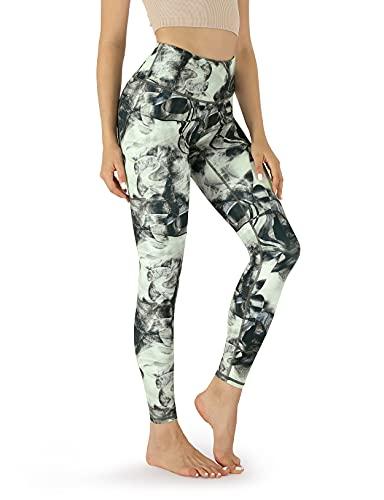 ODODOS Women's Mid Waisted Pattern Leggings with Inner Pocket, Athletic Printed Running Tights Workout Full-Length Yoga Pants, Crosstalk, Medium