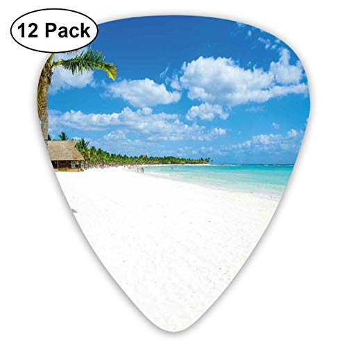 Guitar Picks12pcs Plectrum (0.46mm-0.96mm), Tropical Exotic Seashore With Palm Trees And Clear Sky Island Nature Summertime,For Your Guitar or Ukulele