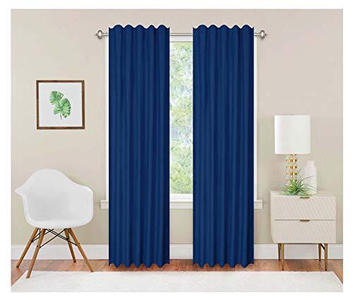 Alegra Set de 2 Cortinas Ana Azul Rey 150 x 220 cm, Microfibra Ultra Suave 100% poliéster, Colores Super firmes, no Necesita Plancha, Lavable en casa