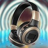 N&I Auriculares estéreo de alta gama, con graves profundos, plegables, ligeros, con cable e inalámbricos, micrófono integrado para teléfonos móviles, TV, PC (color: plateado)