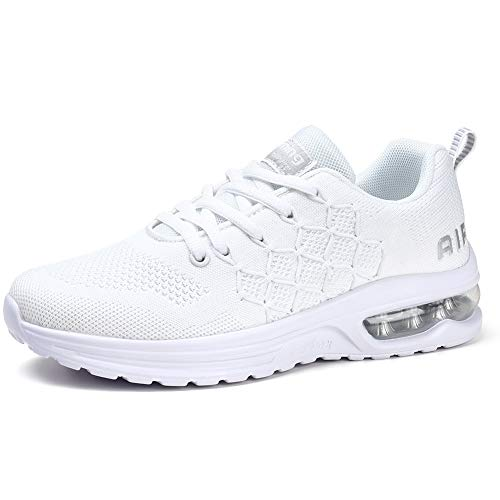 STQ Women's Running Shoes Breathable Air Cushion Sneakers White 9