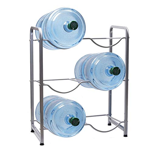 Water Cooler Jug Rack 5 Gallon Water Bottle Holder Storage Shelf Heavy Duty Water Cabinet Dispenser Organizer Silver