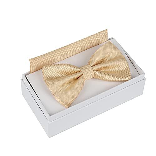 Burnell & Son Herren Fliege mit Einstecktuch in Geschenk Box (GOLD)