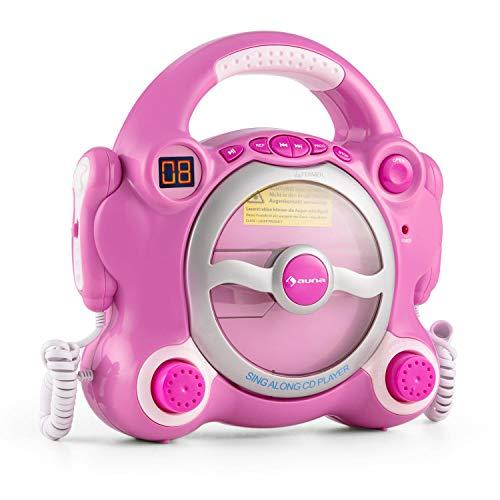 auna Pocket Rocker - Karaoke Anlage Set, CD Player, Stereolautsprecher, Wiederholfunktion, programmierbar, Batteriebetrieb, 2 x dynamisches Mikrofon, Tragegriff, knallpink